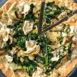 Pizza Agli Spinaci E Carciofi, Senza Glutine E Senza Latticini immagine